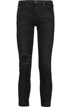 AG ADRIANO GOLDSCHMIED Stilt distressed mid-rise skinny jeans
