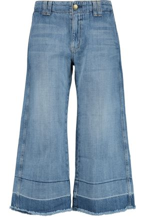 CURRENT/ELLIOTT The Cropped Hampden mid-rise wide-leg jeans