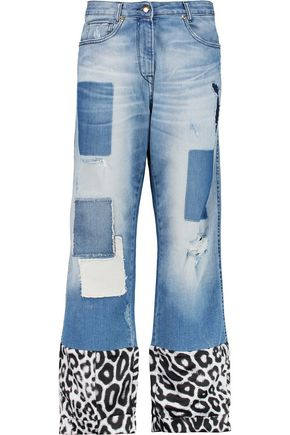 JUST CAVALLI Printed satin twill-paneled distressed boyfriend jeans