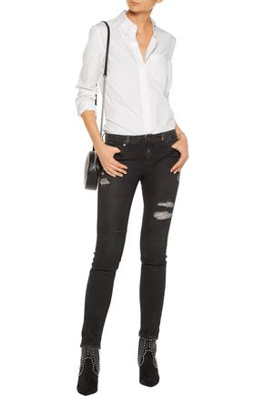 RTA Low-rise coated distressed skinny jeans