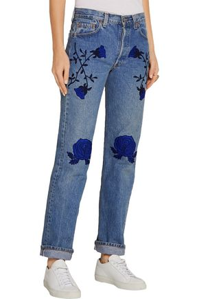 BLISS AND MISCHIEF Conjure embroidered mid-rise straight-leg jeans