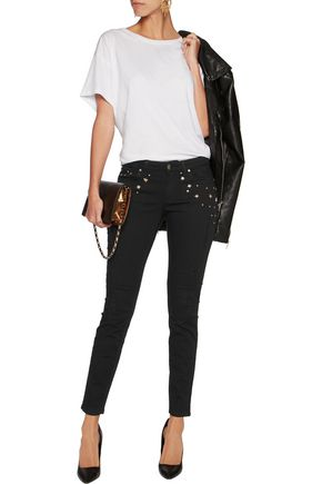 VERSACE COLLECTION Mid-rise studded slim-leg jeans