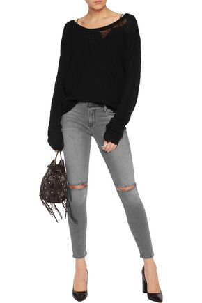 RTA Prince mid-rise distressed cropped skinny jeans