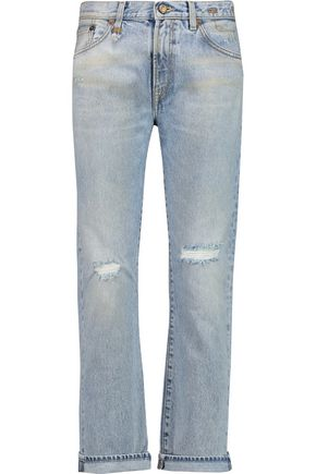 R13 Bowie distressed mid-rise straight-leg jeans