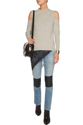 RAG & BONE Tomboy faux leather-paneled mid-rise straight-leg jeans