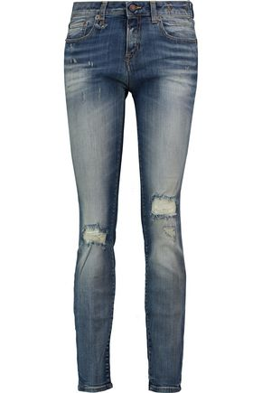R13 Alison faded distressed mid-rise skinny jeans