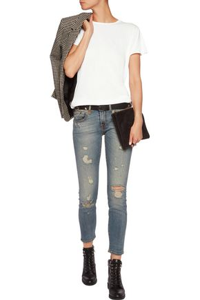 R13 Boy distressed mid-rise skinny jeans