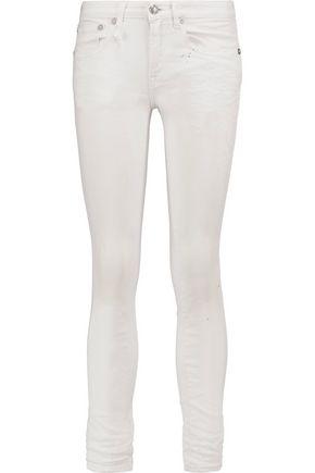 R13 Kate distressed printed mid-rise skinny jeans
