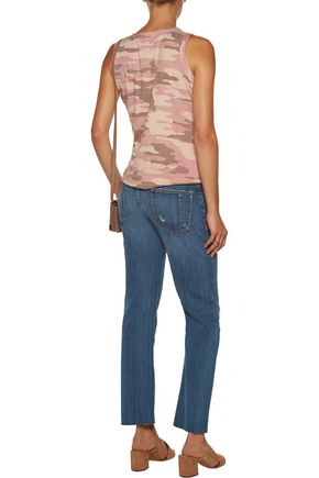 CURRENT/ELLIOTT The Crossover distressed mid-rise straight leg jeans