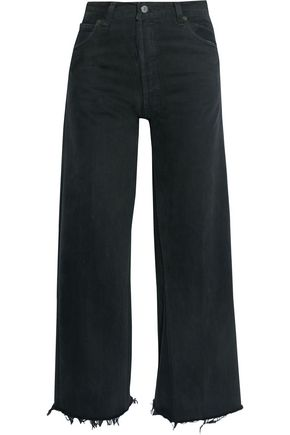 RE/DONE by LEVI'S High-rise distressed wide-leg jeans