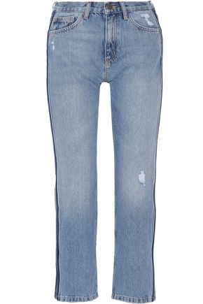 M.I.H JEANS Jeanne cropped striped straight-leg jeans