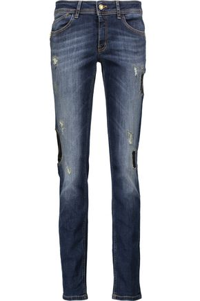 JUST CAVALLI Mid-rise patchwork skinny jeans