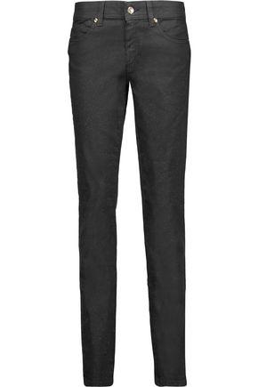 JUST CAVALLI Glittered low-rise skinny jeans