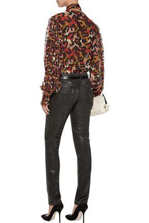 JUST CAVALLI Mid-rise coated glittered skinny-leg jeans
