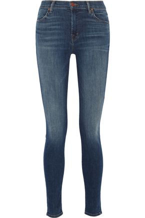 J BRAND Maria faded high-rise skinny jeans