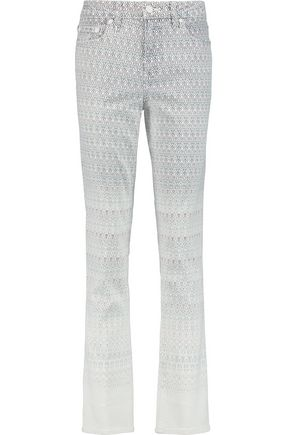 TORY BURCH Printed mid-rise straight-leg jeans