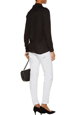 JUST CAVALLI Low-rise leather-paneled distressed skinny jeans