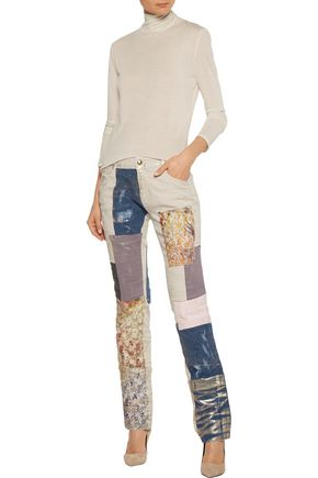 JUST CAVALLI Low-rise metallic patchwork straight-leg jeans