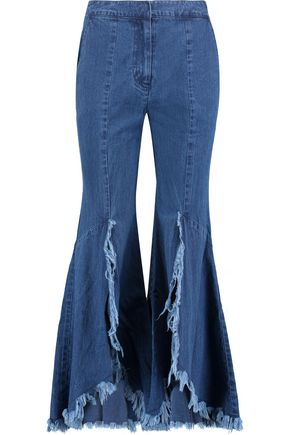GOEN.J Distressed frayed high-rise flared jeans