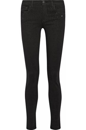 CURRENT/ELLIOTT The Ankle mid-rise crystal-embellished skinny jeans