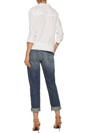 CURRENT/ELLIOTT The Fling mid-rise frayed straight-leg jeans