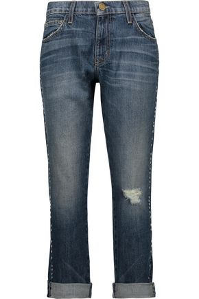 CURRENT/ELLIOTT Studded distressed low-rise boyfriend jeans