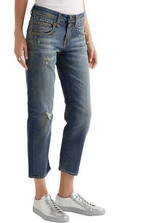 R13 Boy Straight distressed mid-rise jeans