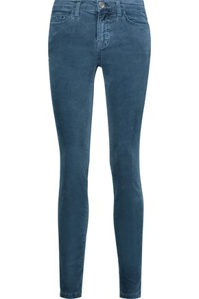CURRENT/ELLIOTT The Ankle mid-rise stretch-cotton velvet skinny jeans