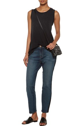 CURRENT/ELLIOTT The Tuxedo mid-rise leather-trimmed slim-leg jeans