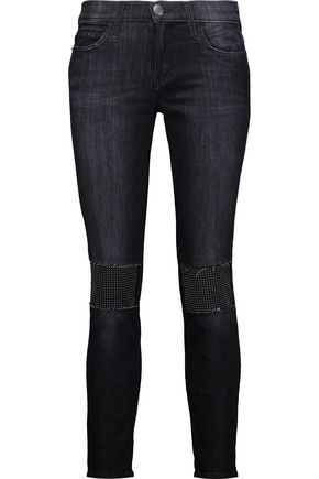CURRENT/ELLIOTT The Stiletto mid-rise studded skinny jeans