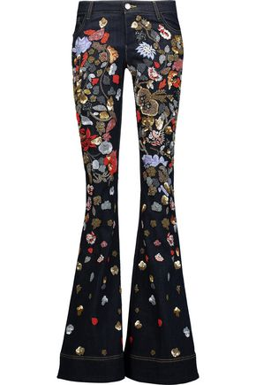 ALICE+OLIVIA Ryley low-rise embellished flared jeans