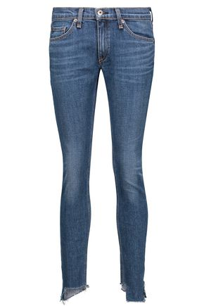 RAG & BONE Low-rise frayed skinny jeans