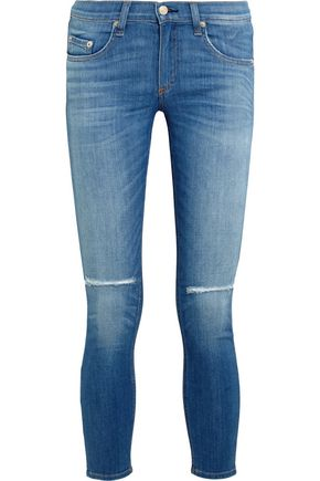 RAG & BONE The Capri cropped distressed low-rise skinny jeans