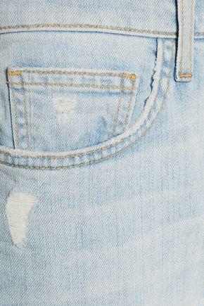 CURRENT/ELLIOTT The Fling cropped distressed slim-leg jeans