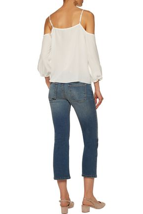 CURRENT/ELLIOTT Distressed mid-rise flared jeans