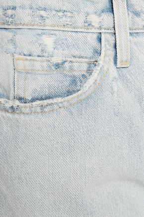 CURRENT/ELLIOTT Distressed high-rise flared jeans