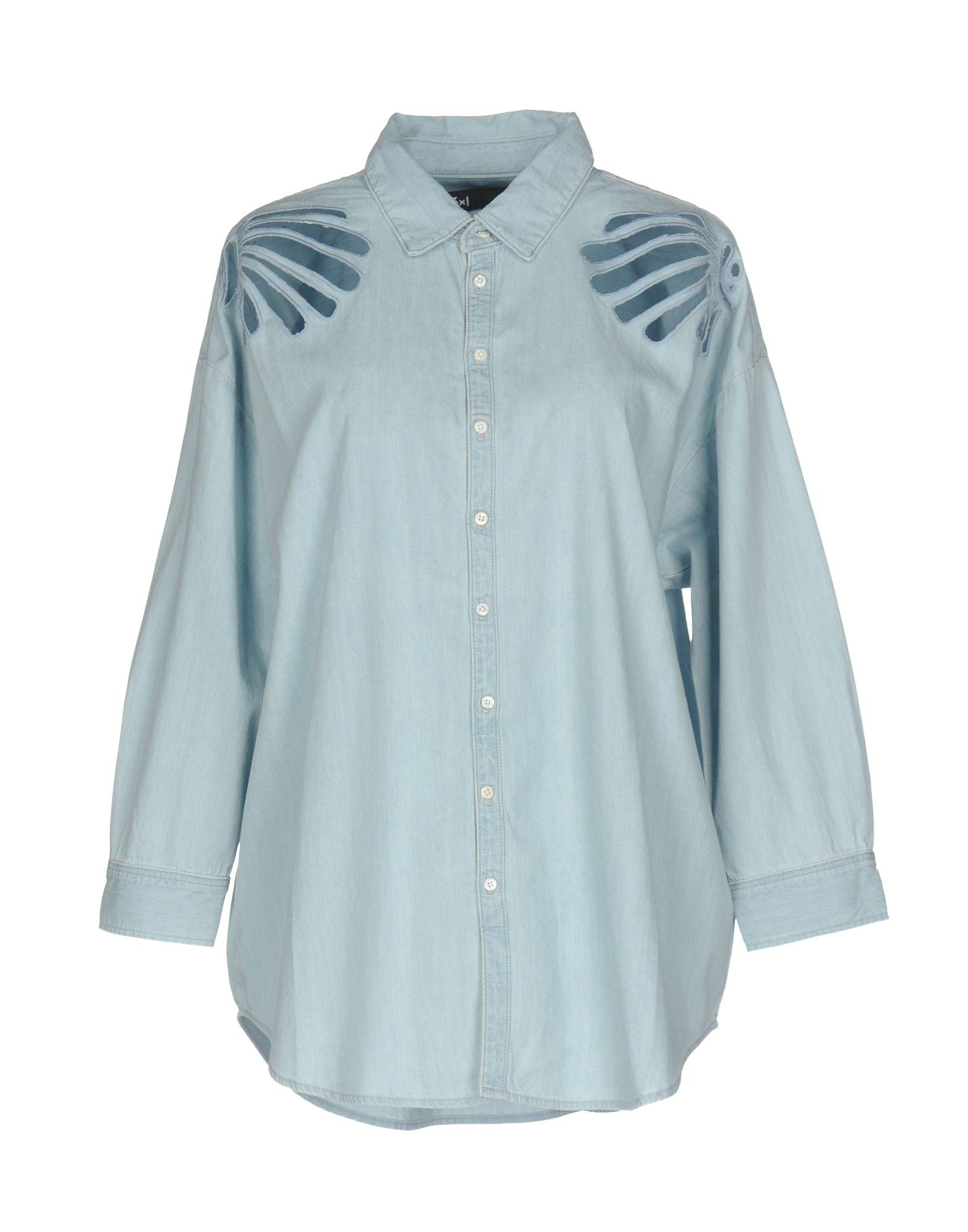 《送料無料》3x1 レディース デニムシャツ ブルー XS コットン 100%