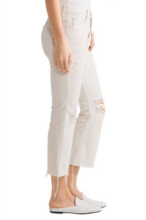 MOTHER The Nomad cropped distressed mid-rise flared jeans