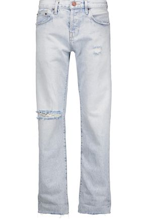 CURRENT/ELLIOTT The Crossover distressed mid-rise straight-leg jeans ...