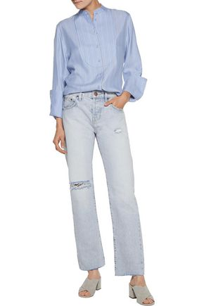 CURRENT/ELLIOTT The Crossover mid-rise distressed straight-leg jeans