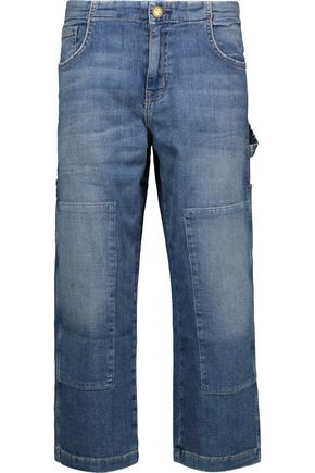 CURRENT/ELLIOTT The Janitor cropped faded mid-rise straight-leg jeans ...