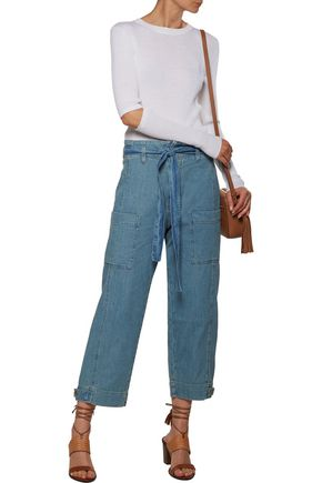 CURRENT/ELLIOTT The Lieutenant high-rise cropped belted wide-leg jeans