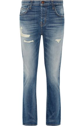 CURRENT/ELLIOTT The Slouchy cropped distressed jeans