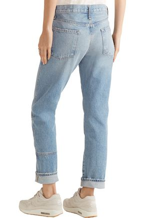 CURRENT/ELLIOTT The Patchwork Crossover mid-rise straight-leg jeans