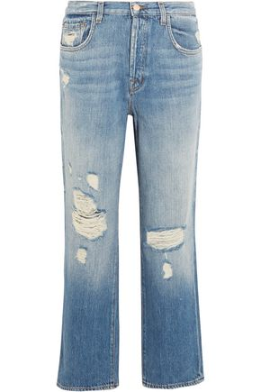 J BRAND Ivy high-rise cropped distressed straight-leg jeans