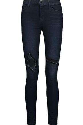 J BRAND Maria embellished high-rise skinny jeans