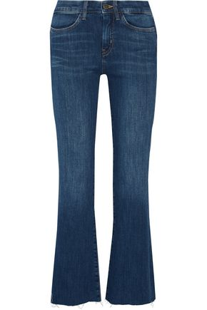 M.I.H JEANS Lou cropped high-rise frayed flared jeans