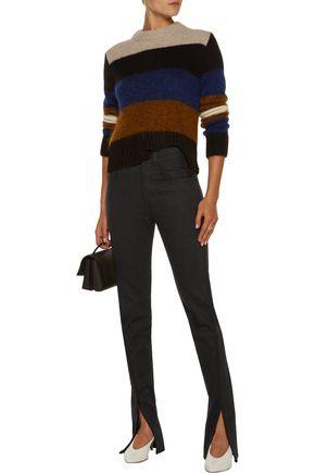 RAG & BONE High-rise cord embroidered-trim flared jeans