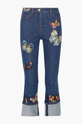 VALENTINO Cropped mid-rise embroidered appliquéd straight-leg jeans