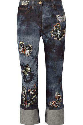 VALENTINO Mid-rise cropped appliquéd straight-leg jeans